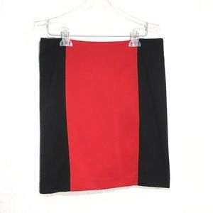 MICHAEL KORS COLOR BLOCK RED & BLACK SKIRT SZ 8